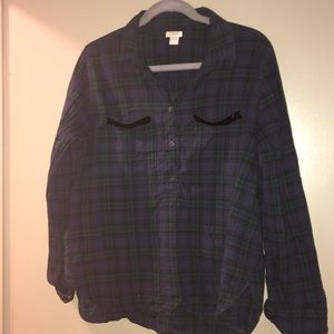 J. Crew plaid 1/4 button down with sequin pockets